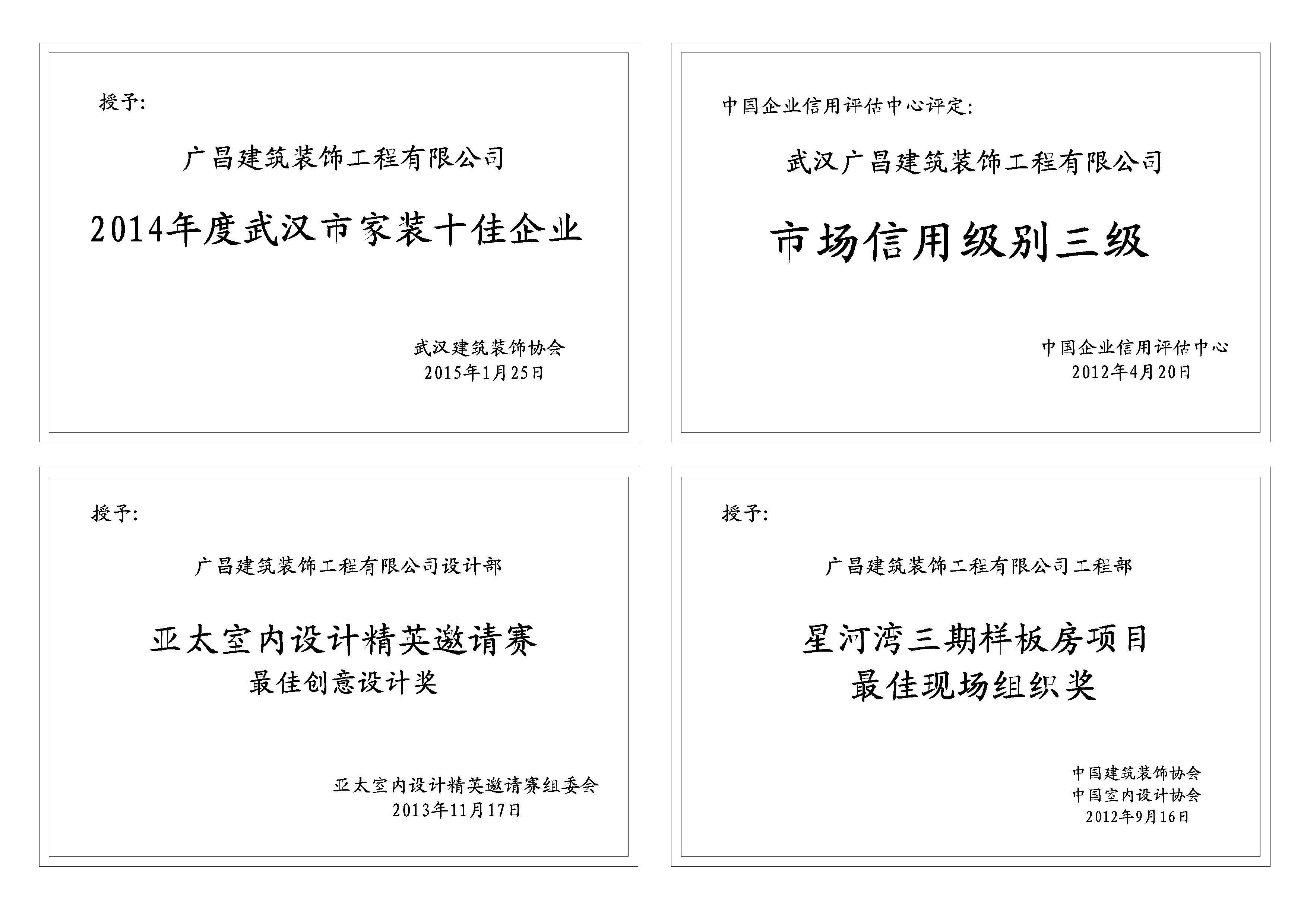 广昌建筑装饰工程有限公司公司编制了一套行之有效的管理系统